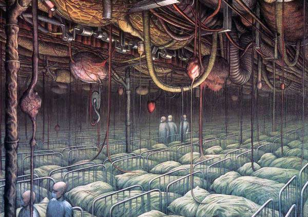 "Иллюстрация. Автор: Jacek Yerka. Название: ""Internal Inspection"""